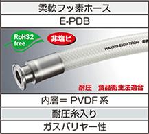 柔軟フッ素ホース(E-PDB)フェルール継手加締品