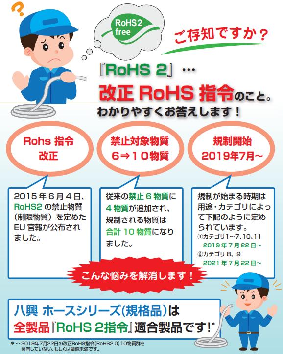 2019年7月22日の改正RoHS2 10物質群を含有していない、もしくは閾値未満です。